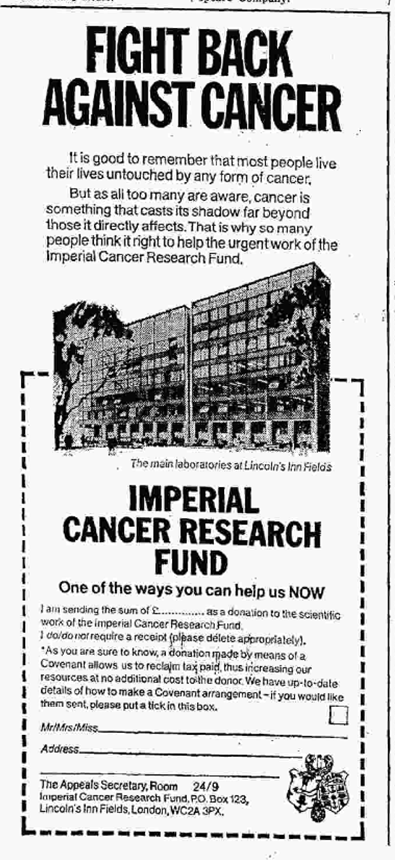 cancer advert 1970s